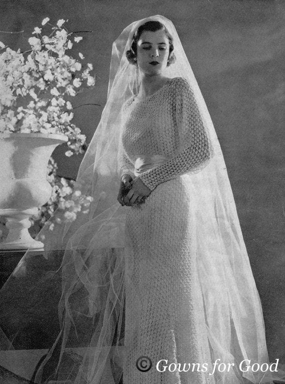 1930s Knitted Wedding Dress