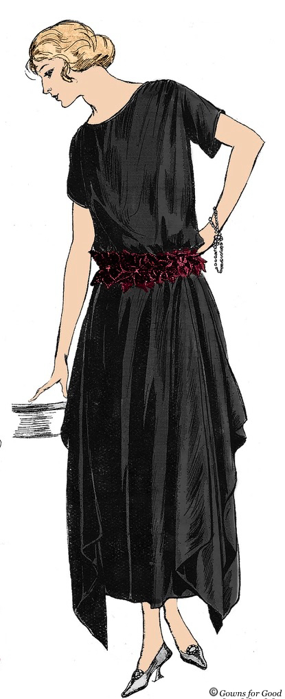 1921 black crepe dress from Mode Pratique project