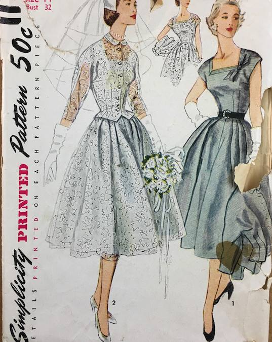 "1952 short ""Simplicity 8484"" wedding dress"