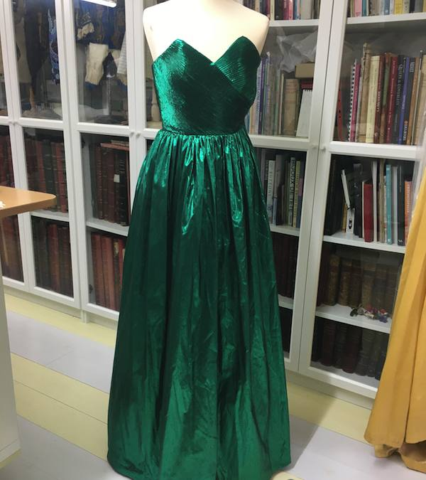 1980s green lamé evening dress
