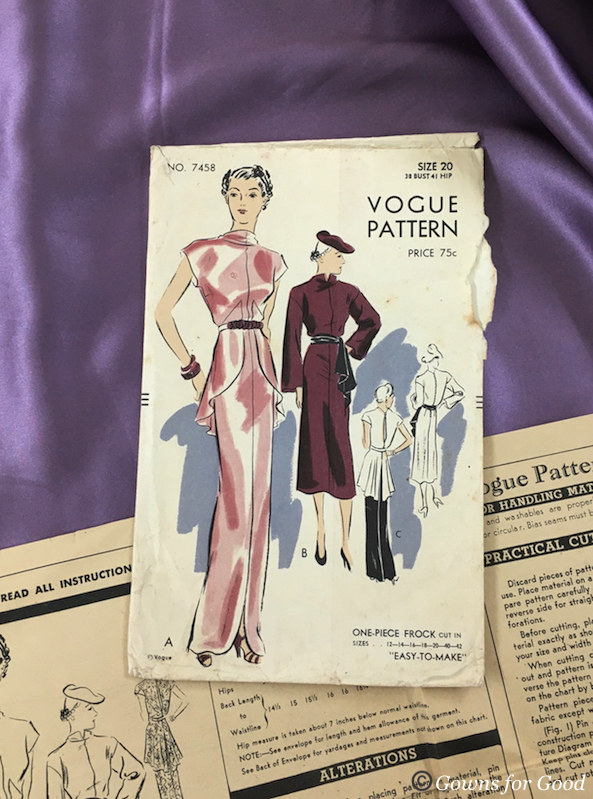 1936 ca Vogue 7458 evening dress 1930s années 30 patron robe de soirée